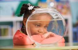 Девочка и круглый пустой аквариум